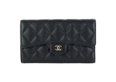 Black Caviar Trifold Snap Wallet
