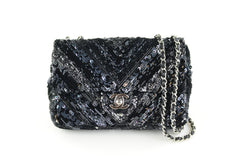 Black Sequin Mini Flap