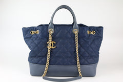 Navy Washed Caviar Top Handle Tote