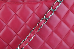 Raspberry Lambskin Single Flap Maxi