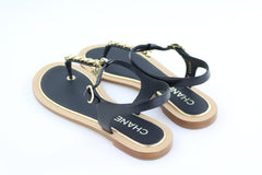 Black/Gold Thong Sandals