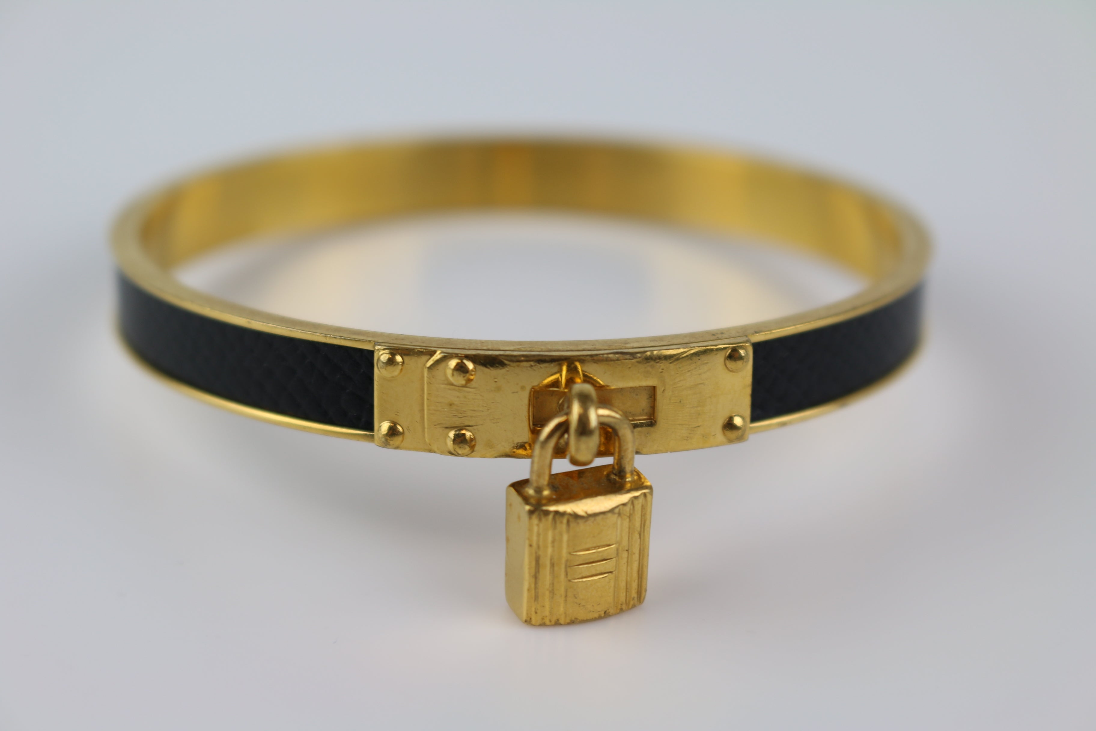 Vintage Gold/Black Leather Cadena Bangle