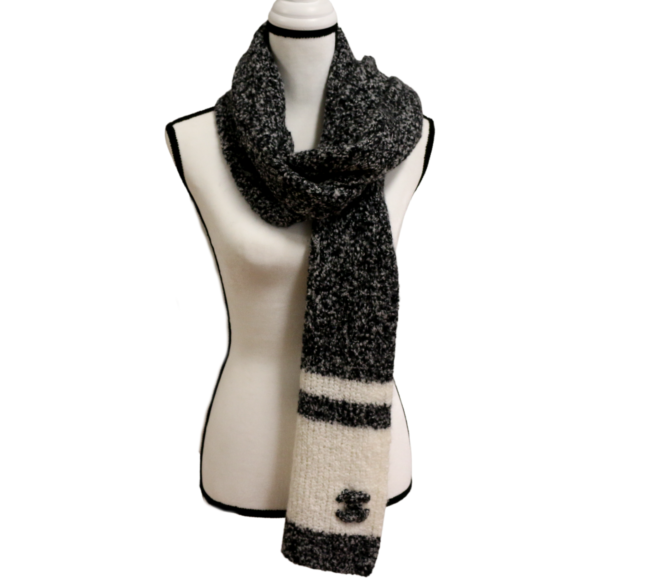 Grey/White Cashmere Scarf