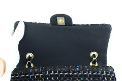 Black Fabric Woven Medium Flap