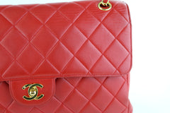 Red Lambskin Vintage Double Faced Flap