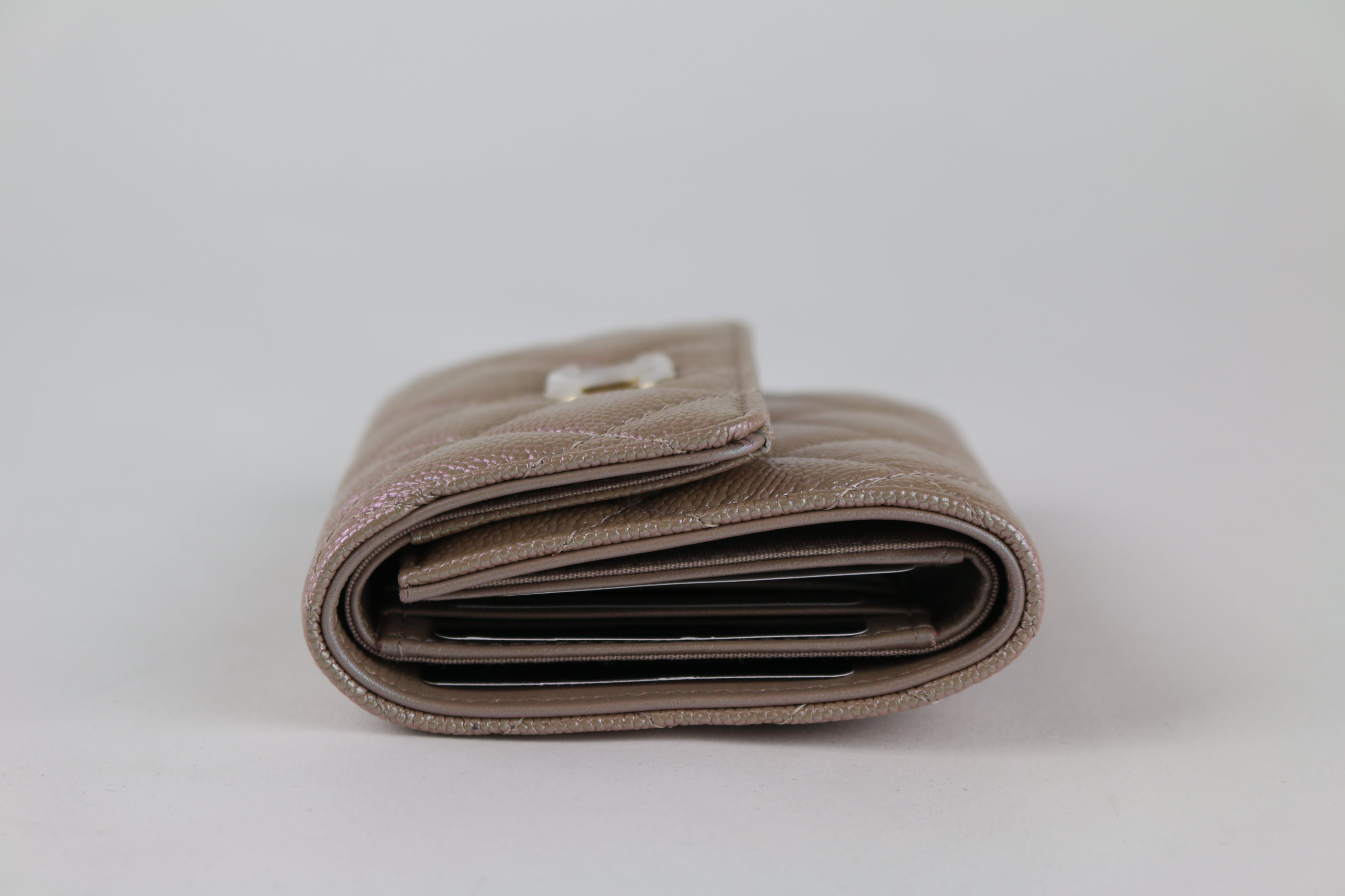 Beige Iridescent Small Trifold Wallet