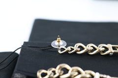 CC Crystal/Pearl/Gold Chain Drop Earrings