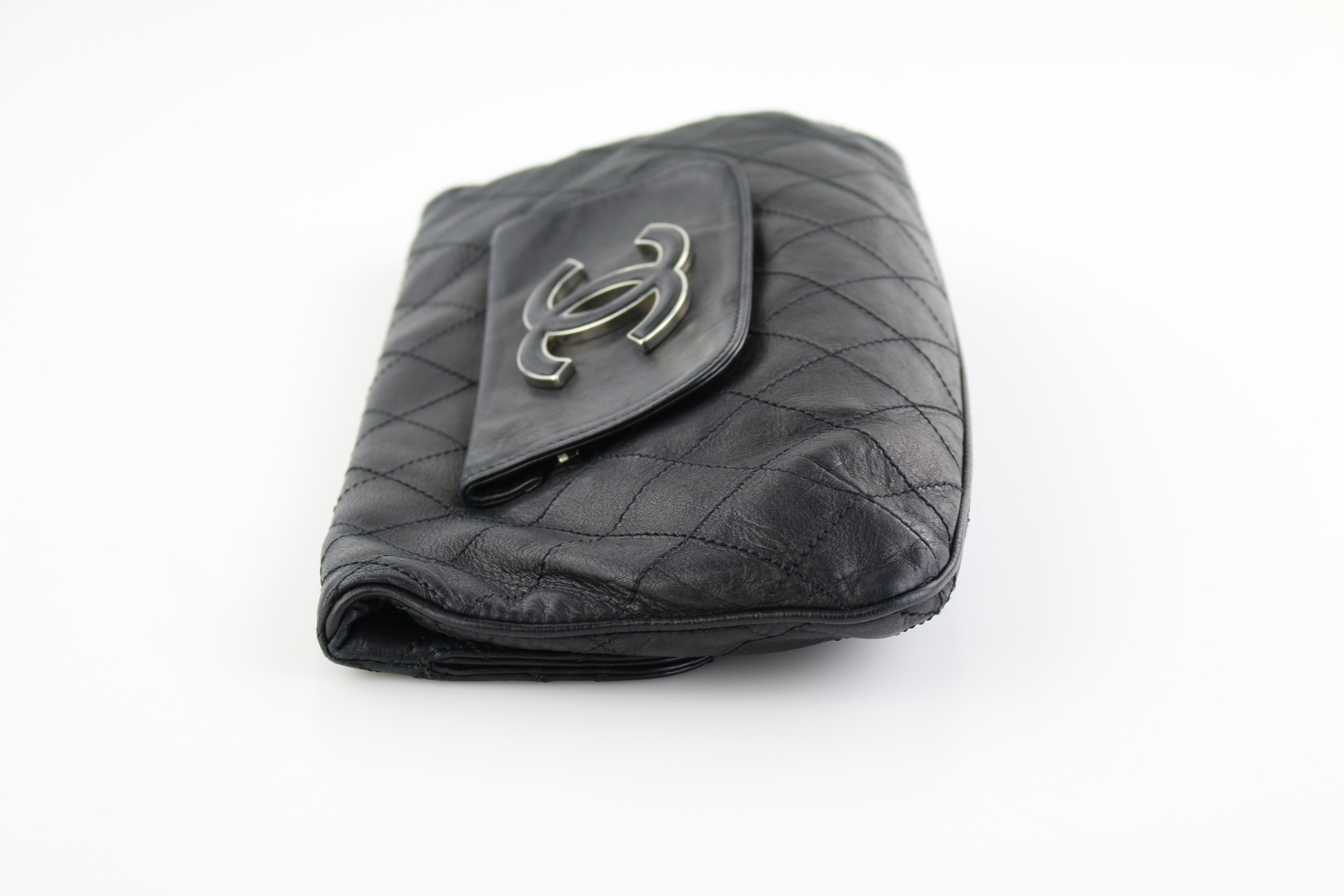 Black Lambskin Hampton Foldover Clutch