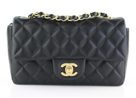 Black Lambskin Rectangular Mini