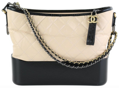 Beige/Black Calfskin Medium Gabrielle Hobo