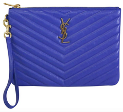 Saint Laurent Blue Chevron Pouch