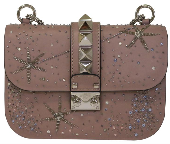 Mauve Crystal Rockstud Small Lockit Bag