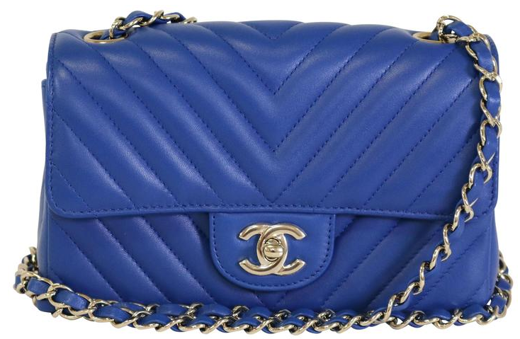 Blue Chevron Lambskin Rectangular Mini