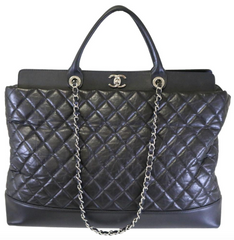 Black Aged Calfskin Quilted Be CC Tote