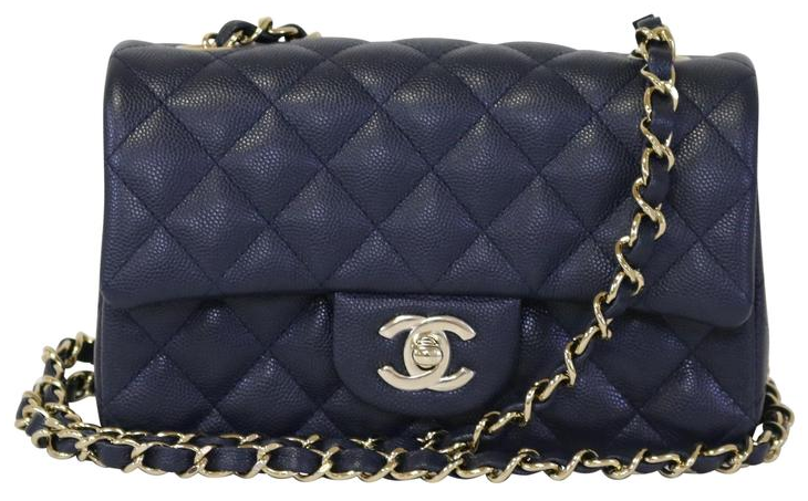 Navy Caviar Rectangular Mini