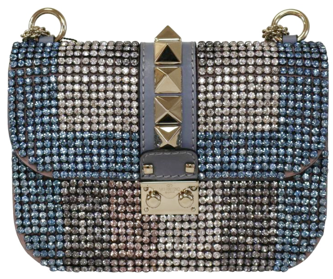Valentino Small Blue/White Crystal Rockstud Lock It Bag