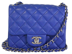 Blue Lambskin Square Mini