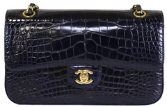 Navy Alligator Medium Flap