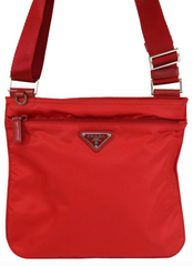 Red Vela Small Nylon Crossbody Bag
