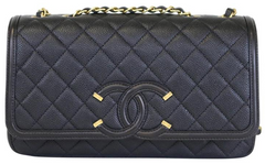 Black Caviar Medium Filigree Flap