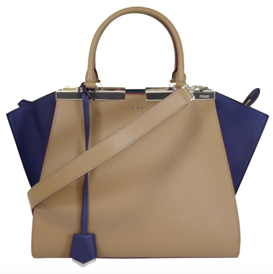 3jours Sand/Blueberry Top Handle Tote