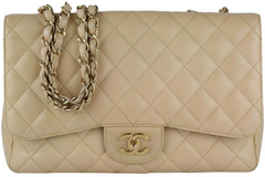 Beige Caviar Single Flap Jumbo