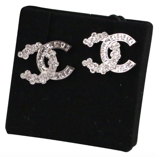 Chanel 18P Crystal CC Stud Earrings
