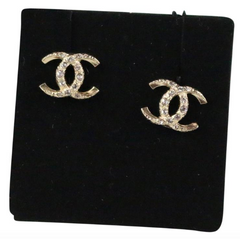 Chanel 17K Golden/Crystal CC Stud Earrings