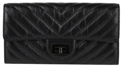 So Black Chevron Calfskin Reissue Wallet