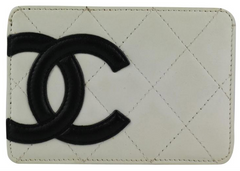 White Lambskin Cambon Card Holder