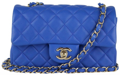 Blue Lambskin Rectangular Mini