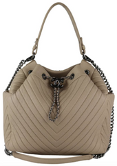 Beige Deerskin Large CC Bucket Drawstring Bag