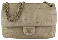 Beige Embossed Metallic Flap Bag