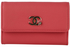 Coral Goatskin Snap Card Case