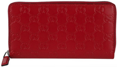 Red Signature Embossed Zip Wallet