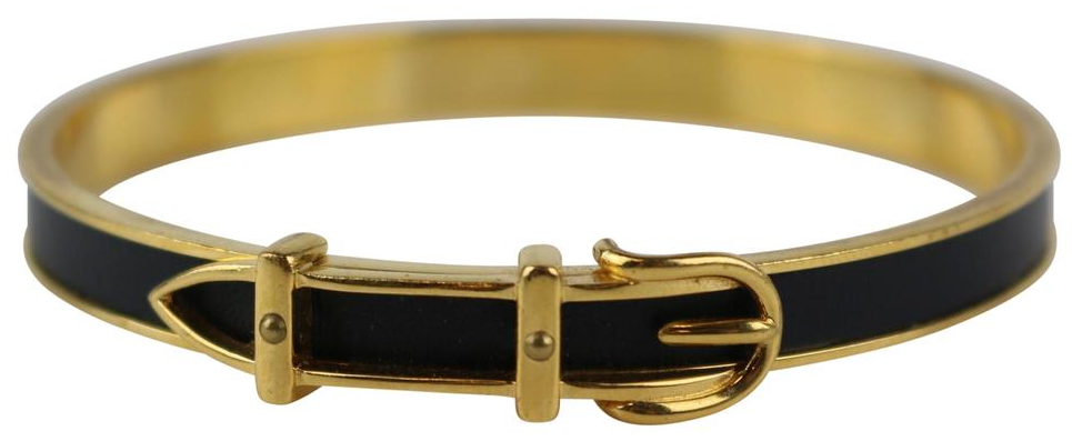 Black Leather/Gold Vintage Buckle Bangle