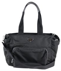 Black Nylon Tessuto Convertible Diaper Bag
