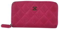 Pink Sueded Caviar Zip Wallet