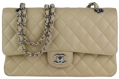 Beige Caviar Medium Flap