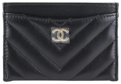 Black Lambskin Chevron Card Case