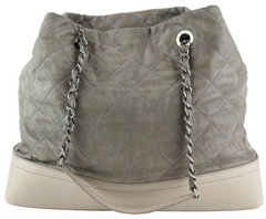 Khaki Washed Calfskin Quilted Tote