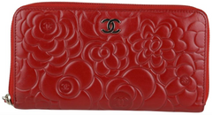 Red Lambskin Camellia Zip Wallet