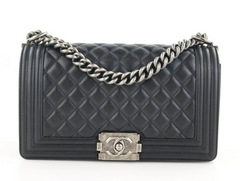 b6d18851f65a Black Calfskin Old Medium Boy · Chanel