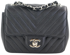 637e35d11023 Black Caviar Chevron Square Mini. Chanel