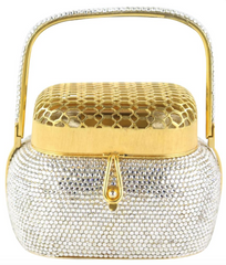 Crystal/Gold Top Handle Minaudiere