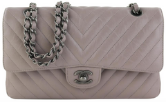 Grey Calfskin Chevron Medium Flap