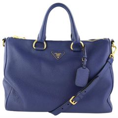 Navy Vitello Daino Tote