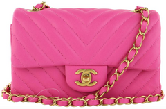 Pink Chevron Lambskin Rectangular Mini