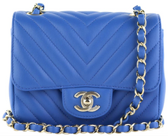 Blue Chevron Lambskin Square Mini
