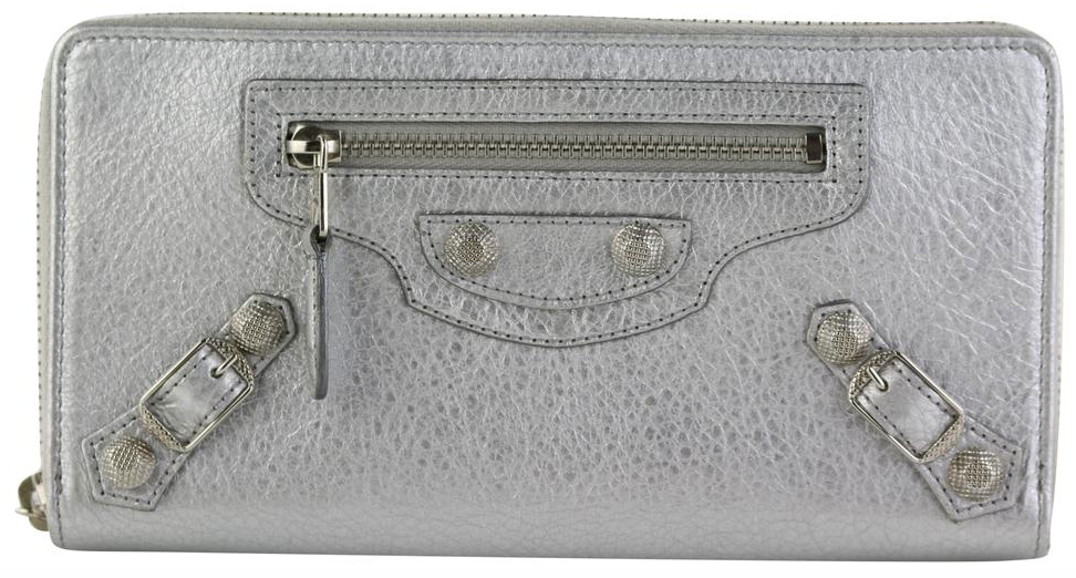 Silver Classic Continental Zip Around Wallet